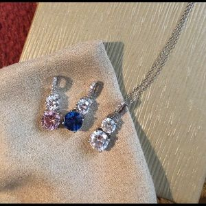 Sterling silver white, blue and pink CZ necklace